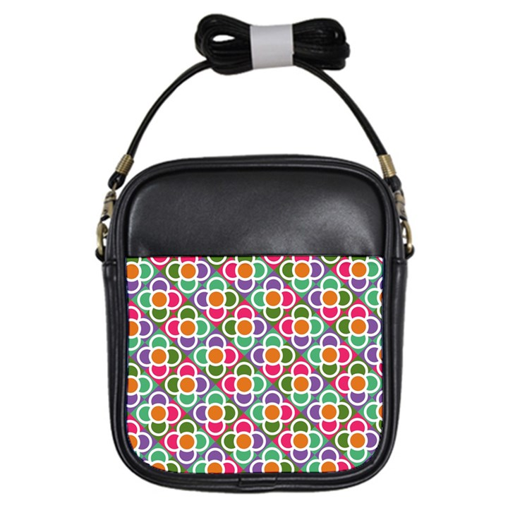 Modernist Floral Tiles Girls Sling Bags
