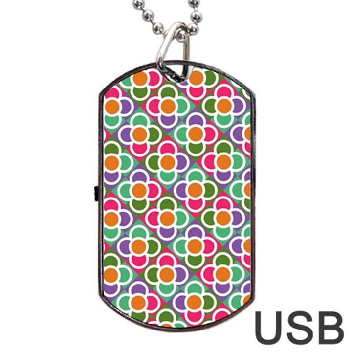 Modernist Floral Tiles Dog Tag USB Flash (One Side)