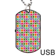 Modernist Floral Tiles Dog Tag Usb Flash (two Sides)  by DanaeStudio