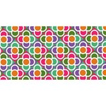 Modernist Floral Tiles Happy Birthday 3D Greeting Card (8x4) Front