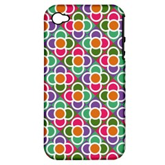 Modernist Floral Tiles Apple Iphone 4/4s Hardshell Case (pc+silicone) by DanaeStudio