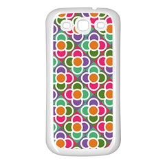 Modernist Floral Tiles Samsung Galaxy S3 Back Case (white) by DanaeStudio