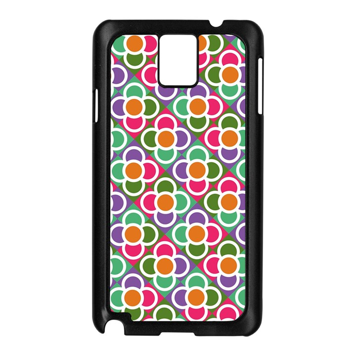 Modernist Floral Tiles Samsung Galaxy Note 3 N9005 Case (Black)