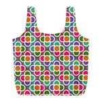 Modernist Floral Tiles Full Print Recycle Bags (L)