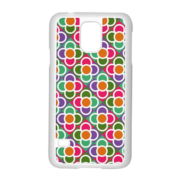 Modernist Floral Tiles Samsung Galaxy S5 Case (White)