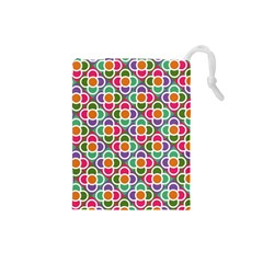 Modernist Floral Tiles Drawstring Pouches (small)