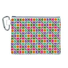 Modernist Floral Tiles Canvas Cosmetic Bag (l) by DanaeStudio