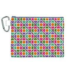 Modernist Floral Tiles Canvas Cosmetic Bag (xl) by DanaeStudio