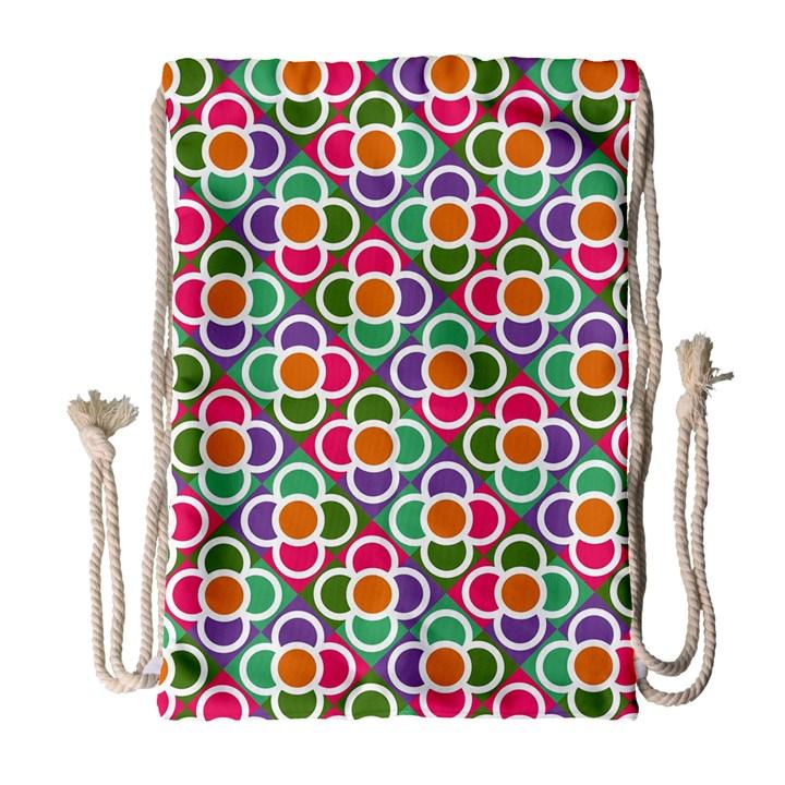 Modernist Floral Tiles Drawstring Bag (Large)
