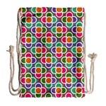 Modernist Floral Tiles Drawstring Bag (Large) Back