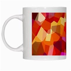 Geometric Fall Pattern White Mugs