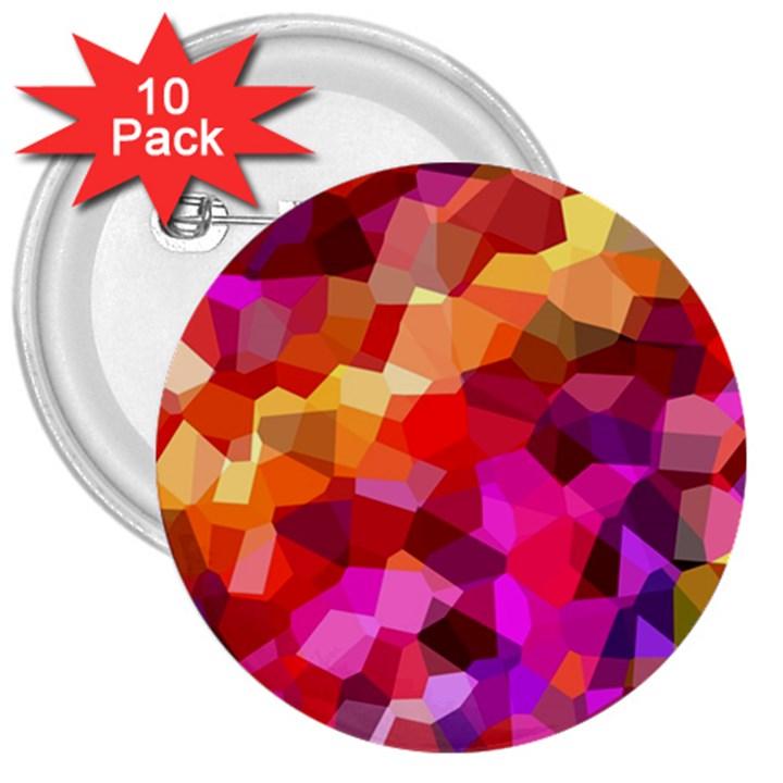 Geometric Fall Pattern 3  Buttons (10 pack)