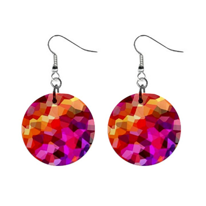 Geometric Fall Pattern Mini Button Earrings