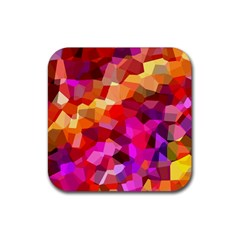 Geometric Fall Pattern Rubber Coaster (square)  by DanaeStudio