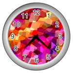 Geometric Fall Pattern Wall Clocks (Silver)  Front