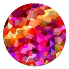 Geometric Fall Pattern Magnet 5  (round) by DanaeStudio