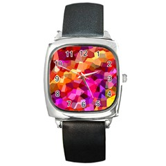 Geometric Fall Pattern Square Metal Watch by DanaeStudio