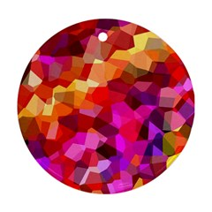 Geometric Fall Pattern Round Ornament (two Sides)  by DanaeStudio