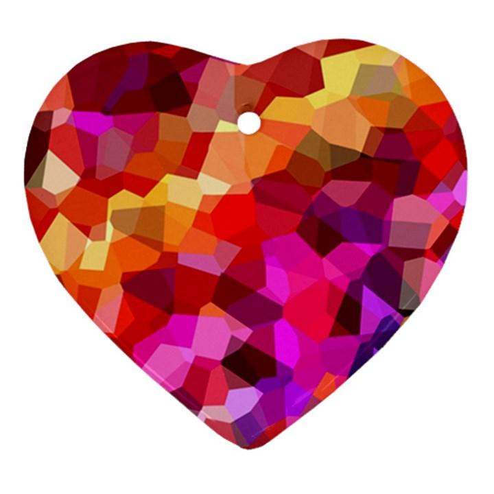 Geometric Fall Pattern Heart Ornament (2 Sides)