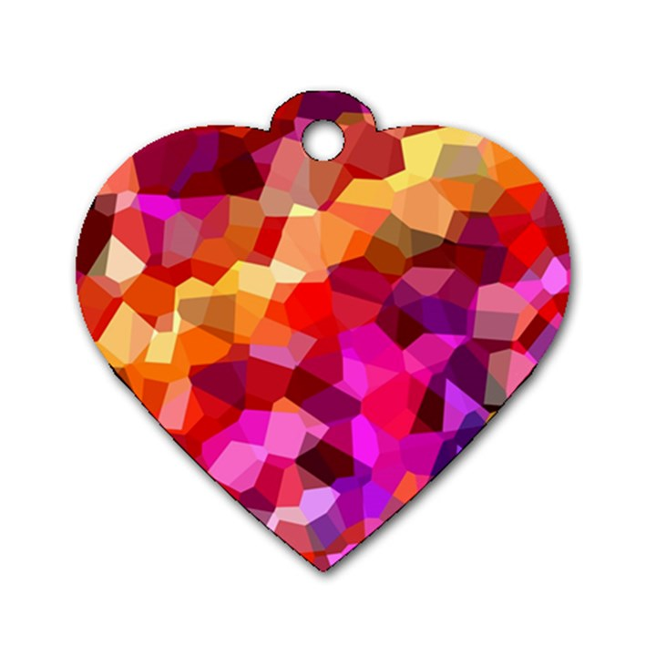 Geometric Fall Pattern Dog Tag Heart (One Side)
