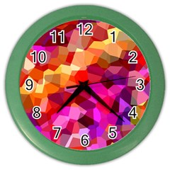 Geometric Fall Pattern Color Wall Clocks by DanaeStudio
