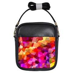 Geometric Fall Pattern Girls Sling Bags by DanaeStudio