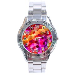 Geometric Fall Pattern Stainless Steel Analogue Watch by DanaeStudio