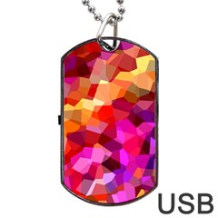 Geometric Fall Pattern Dog Tag Usb Flash (two Sides)  by DanaeStudio