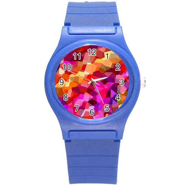 Geometric Fall Pattern Round Plastic Sport Watch (S)