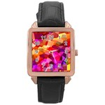 Geometric Fall Pattern Rose Gold Leather Watch  Front