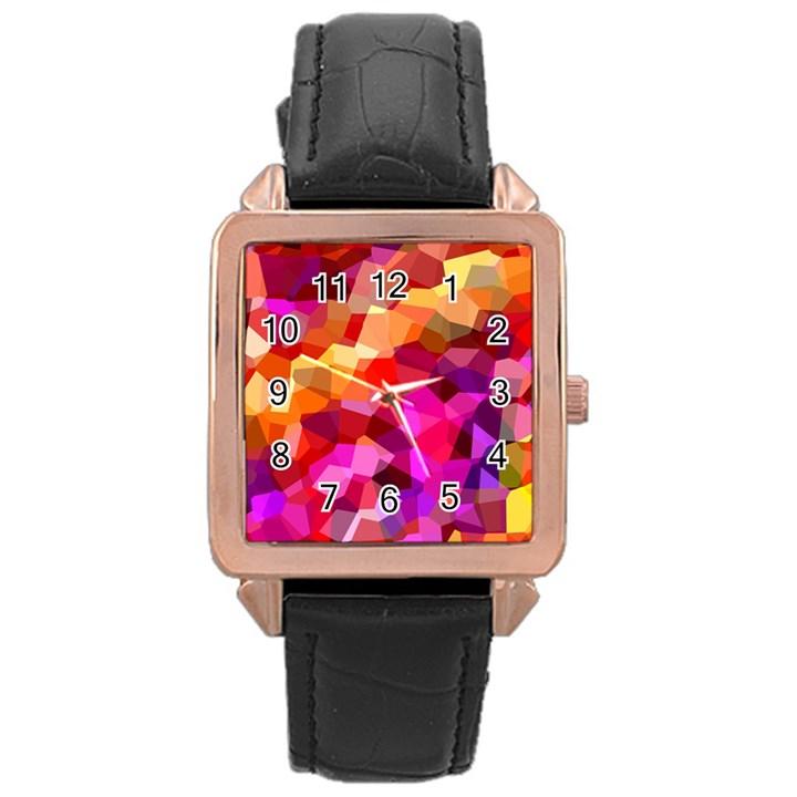 Geometric Fall Pattern Rose Gold Leather Watch