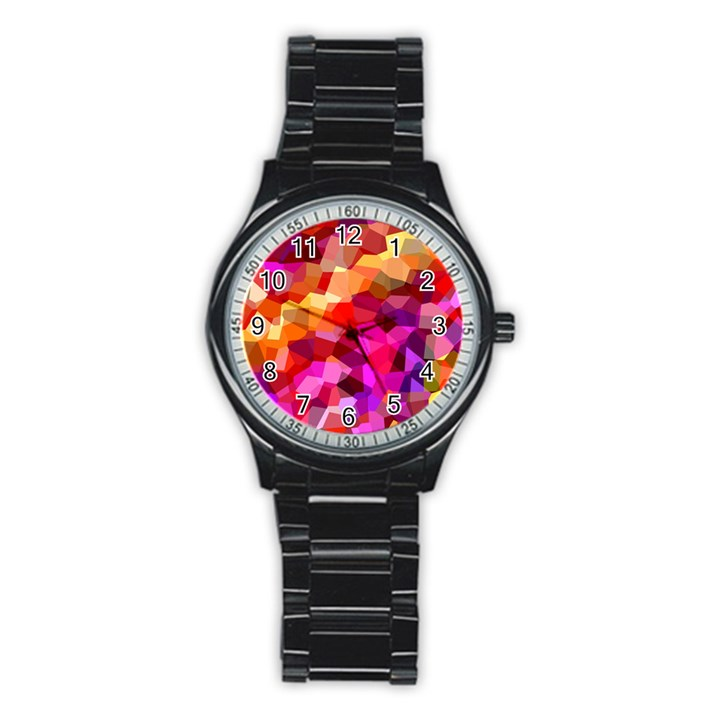 Geometric Fall Pattern Stainless Steel Round Watch