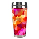 Geometric Fall Pattern Stainless Steel Travel Tumblers Left