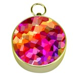 Geometric Fall Pattern Gold Compasses Front