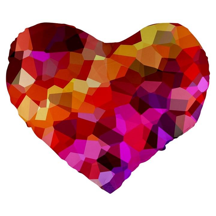 Geometric Fall Pattern Large 19  Premium Flano Heart Shape Cushions