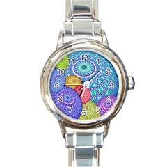India Ornaments Mandala Balls Multicolored Round Italian Charm Watch