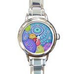 India Ornaments Mandala Balls Multicolored Round Italian Charm Watch Front