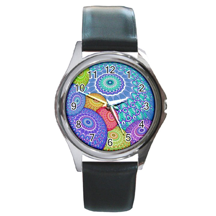 India Ornaments Mandala Balls Multicolored Round Metal Watch