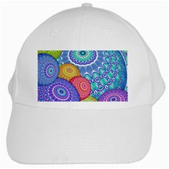 India Ornaments Mandala Balls Multicolored White Cap by EDDArt