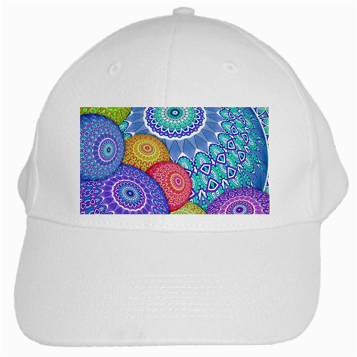 India Ornaments Mandala Balls Multicolored White Cap