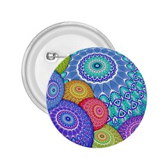 India Ornaments Mandala Balls Multicolored 2 25  Buttons by EDDArt