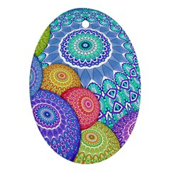 India Ornaments Mandala Balls Multicolored Ornament (oval)  by EDDArt