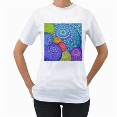 India Ornaments Mandala Balls Multicolored Women s T Shirt (white) (two Sided) by EDDArt