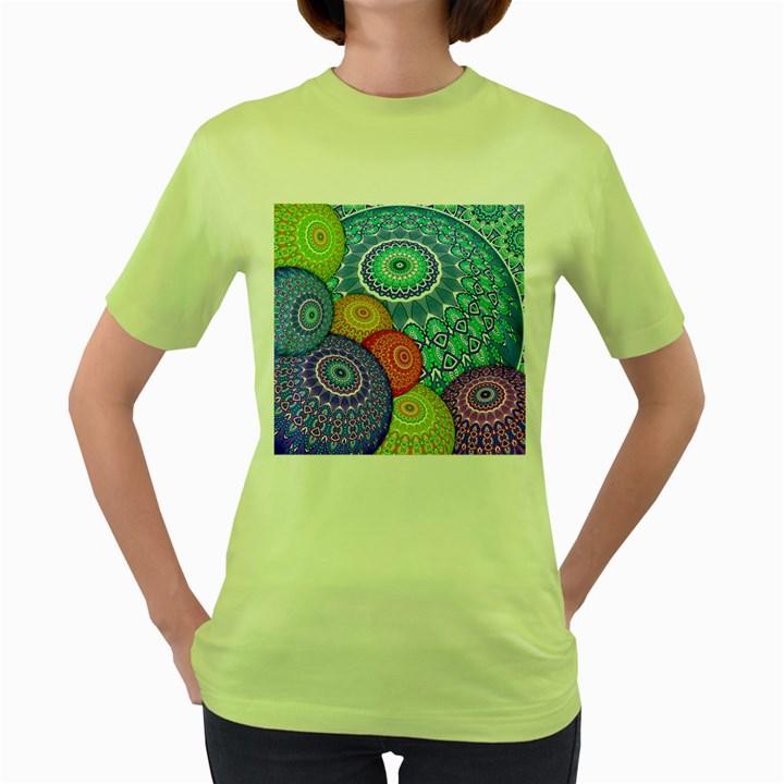 India Ornaments Mandala Balls Multicolored Women s Green T-Shirt