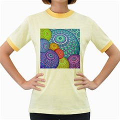 India Ornaments Mandala Balls Multicolored Women s Fitted Ringer T Shirts