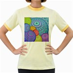 India Ornaments Mandala Balls Multicolored Women s Fitted Ringer T-Shirts Front