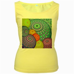 India Ornaments Mandala Balls Multicolored Women s Yellow Tank Top by EDDArt