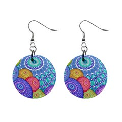 India Ornaments Mandala Balls Multicolored Mini Button Earrings
