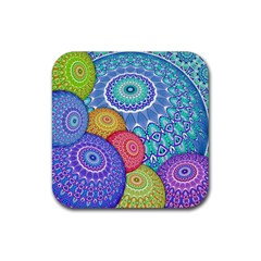 India Ornaments Mandala Balls Multicolored Rubber Coaster (square)  by EDDArt