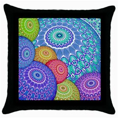 India Ornaments Mandala Balls Multicolored Throw Pillow Case (black) by EDDArt